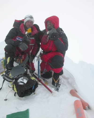 Father-and-son mountaineers John, right, and Jess Roskelley, of Spokane, Wash. are shown on the summit of Mt. Everest, in Nepal, Wednesday, May 21, 2003, in this photo provided by the expedition. Thursday, May 29, 2003, will be the 50th anniversary of the day Sir Edmund Hillary and Tenzing Norgay were the first to reach the summit of the world's tallest mountain. (Courtesy Roskelley family)