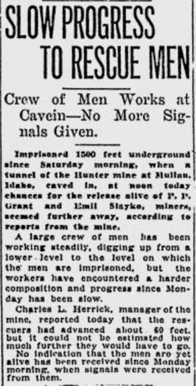 Two stranded miners stopped sending signals to rescuers after a cave-in at Hunter Mine in Mullan, Idaho, the Spokane Daily Chronicle reported Nov. 18, 1919. (S-R archives)