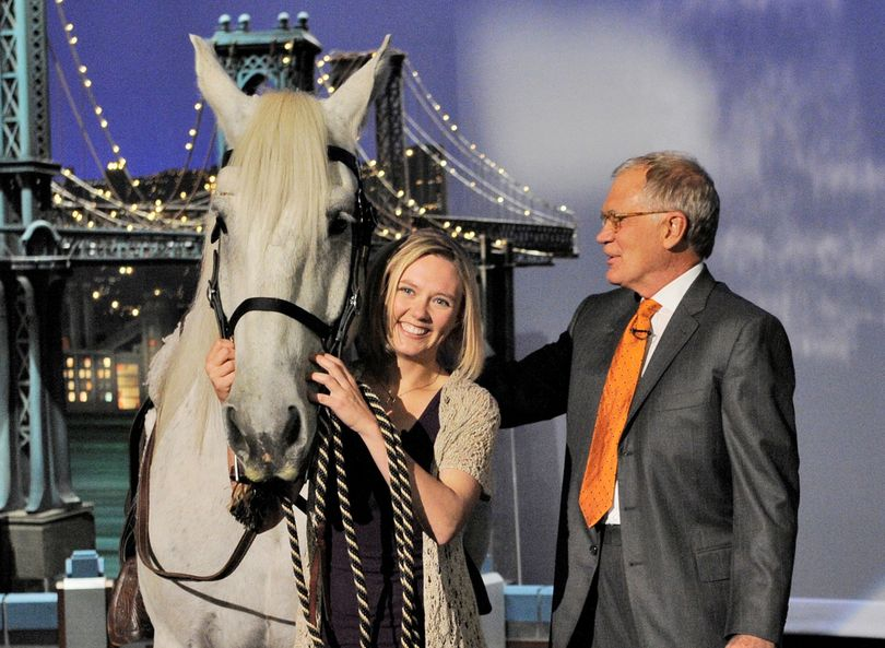 Erin Bolster and her horse, Tonk, meet David Letterman on stage Tuesday. (CBS)