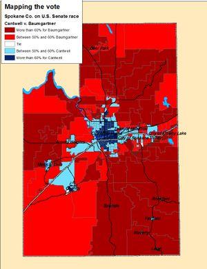 Map of the U.S. Senate race results in Spokane County on Election Night (Jim Camden)