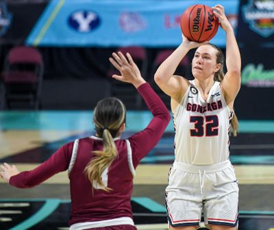 Gonzaga guard Jill Townsend (32) takes a shot as Santa Clara guard Lexie Pritchard (3) defends during the second half of a West Coast Conference semifinal NCAA college basketball game, Monday, March 8, 2021, at the Orleans Arena in Las Vegas.  (COLIN MULVANY/THE SPOKESMAN-REVIEW)