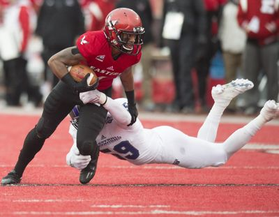Eastern Washington WR Shaq Hill has 173 catches to rank eighth in school history. (Tyler Tjomsland / The Spokesman-Review)