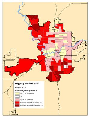 This is a map of vote margins for City Proposition 1, the Worker Bill of Rights, in the Election Night count. (Jim Camden/Spokesman-Review)