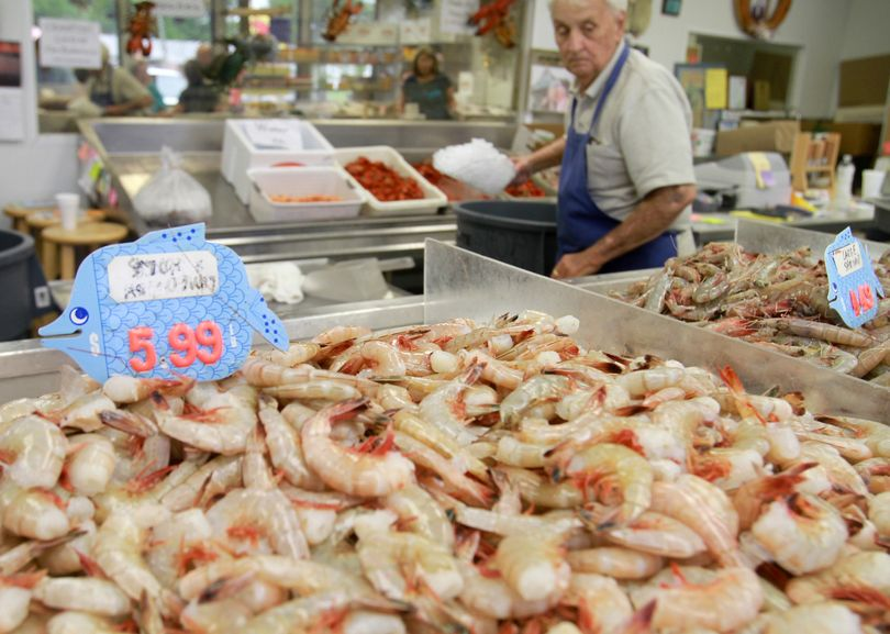 Fresh shrimp stands ready to be purchased at Desporte & Son's Seafood on Friday in Biloxi, Miss. The store estimated that business doubled as residents hurried to purchase shrimp and other local seafood in fear that the oil spilling from a sunken rig will threaten the local seafood industry. The Sun Herald (Amanda McCoy The Sun Herald)