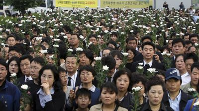 Mourners gather for a funeral service for former South Korean President Roh Moo-hyun  on Sunday.  (Associated Press / The Spokesman-Review)