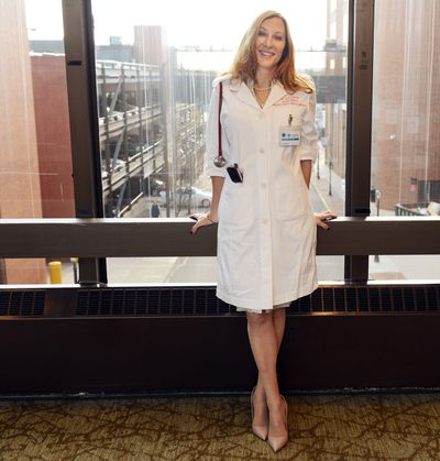 Dr. Leslie Latterman's lab coat is better suited to a woman's needs.