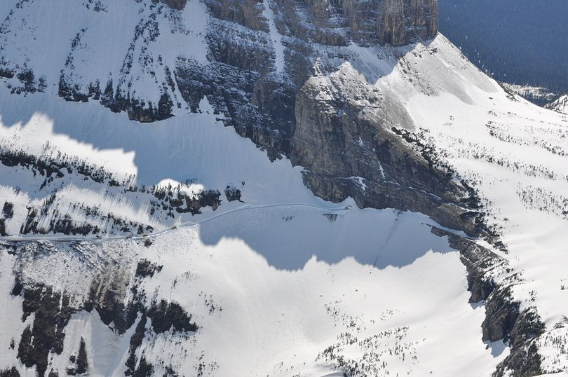 Glacier National Park crews were clearing snow on steep slopes off the Going to the Sun Road on June 11, 2014. (Glacier National Park)