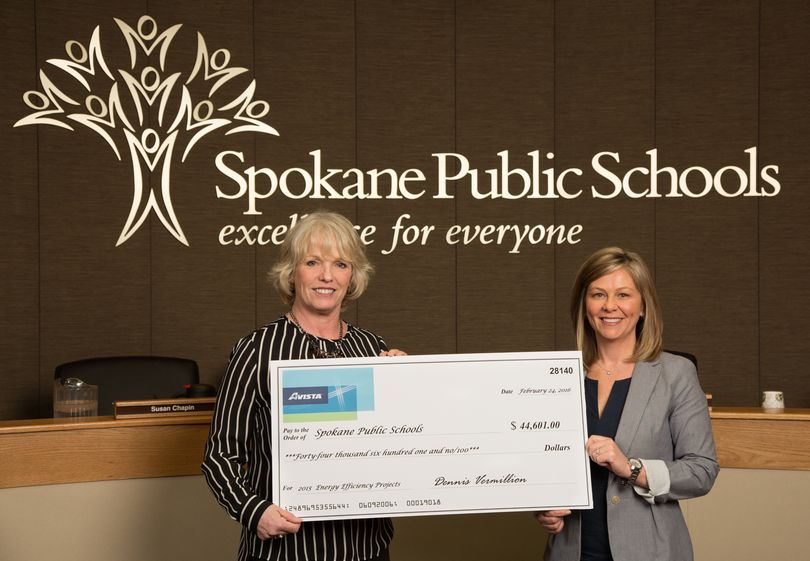 Spokane Public Schools received a $44,601 rebate from Avista this week.  (Dean Davis)