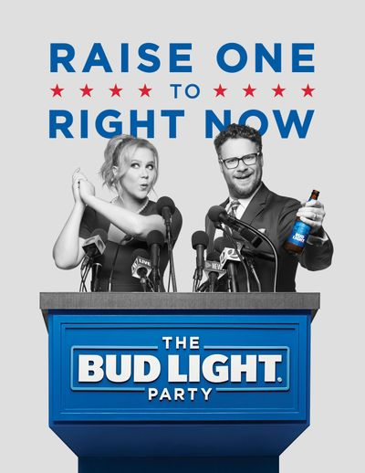 Actors Amy Schumer and Seth Rogen are featured in an Anheuser-Busch  Bud Light ad for Super Bowl 50. (Associated Press)