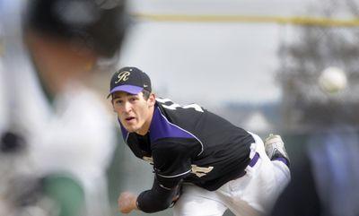 Jake Partridge throws against Shadle Park on Tuesday. Next year he'll be facing NCAA Division I competition.  (Christopher Anderson / The Spokesman-Review)