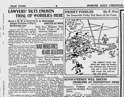 The trial of seven Wobblies began on June 4, 1918, with their defense attorney clashing with a judge over evidence. (Spokane Daily Chronicle archives)