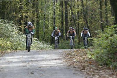 Contestants pedal one of several mountain biking segments in the Subaru Primal Quest endurance race.   (Photo courtesy of Subaru Primal Quest/Sherry Martin / The Spokesman-Review)