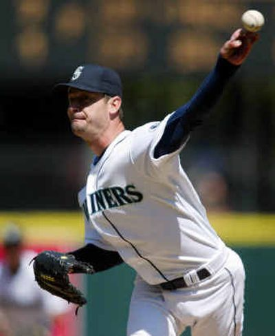 Seattle Mariners 41-year-old starting pitcher Jamie Moyer baffled the Cleveland Indians on Sunday and improved to 4-0 this season.  (Associated Press / The Spokesman-Review)
