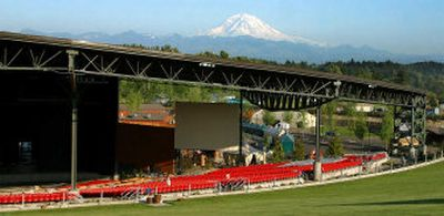 The White River Amphitheatre, a 20,000-seat concert venue near Auburn, Wash., owned by the Muckleshoot Indian Tribe, is shown this month with Mount Rainier in the background.   (Associated Press / The Spokesman-Review)