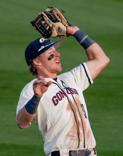 Gonzaga third baseman Brett Harris catches an infield fly ball against Washington State on April 27 at the Patterson Baseball Complex in Spokane.  (COLIN MULVANY/THE SPOKESMAN-REVIEW)