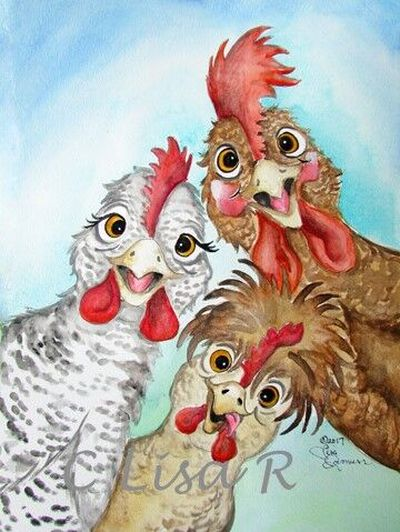 A watercolor painting by artist Lisa Rasmussen shows three cheerful chickens that seem to be popping in to say hello. Rasmussen is one of the featured artists in the 44th annual Christmas Arts and Crafts Show which is virtual this year. The show at custershows.com/virtual-show.php continues through Dec. 25.  (Courtesy of Lisa Rasmussen)