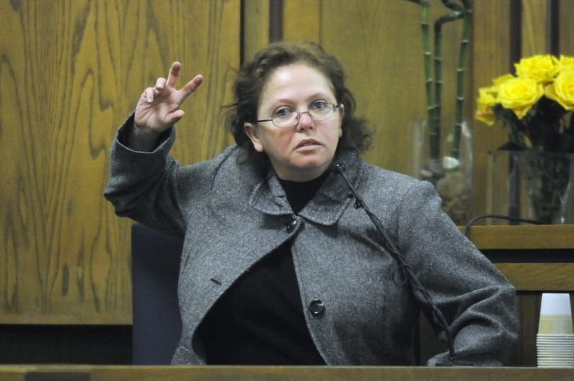 Shellye Stark testifies in Spokane County Superior Court March 12. She's charged with first-degree murder and conspiracy to commit murder for the Dec. 9, 2007, shooting death of her husband, Dale Robert Stark. (Dan Pelle / The Spokesman-Review)