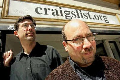 Craigslist.org CEO Jim Buckmaster, left, and founder Craig Newmark are photographed outside of their office in San Francisco.   (Associated Press / The Spokesman-Review)