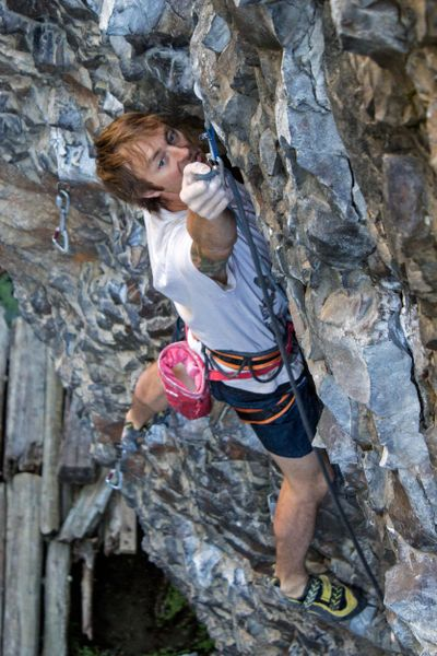 Jess Roskelley climbs at Deep Creek, a popular climbing area in Spokane. A toilet will be installed at Deep Creek and the trailhead will be updated in honor of Roskelley who died in 2019. (Jon Jonckers / COURTESY)