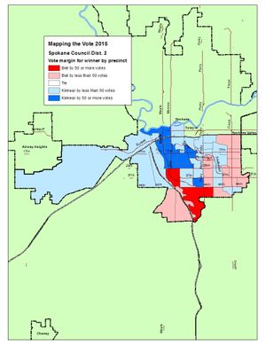 This is a map of the vote margins in the Spokane City Council District 2 race after the Election Night count. (Jim Camden/Spokesman-Review)