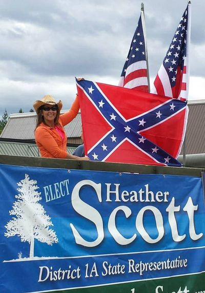 """This is the photo Idaho Rep. Heather Scott, R-Blanchard, posted on Facebook, writing, """"Protecting and promoting our freedom of speech is an honor."""""""