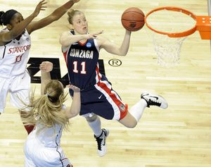 Gonzaga Janelle Bekkering (11) flies to the basket during first half action of their NCAA Tournament Elite Eight game against Stanford in the Spokane Arena on Monday, March 28, 2011. (Christopher Anderson / The Spokesman-Review)