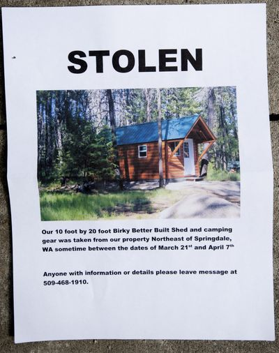 The Hempels posted a notice about their missing cabin.