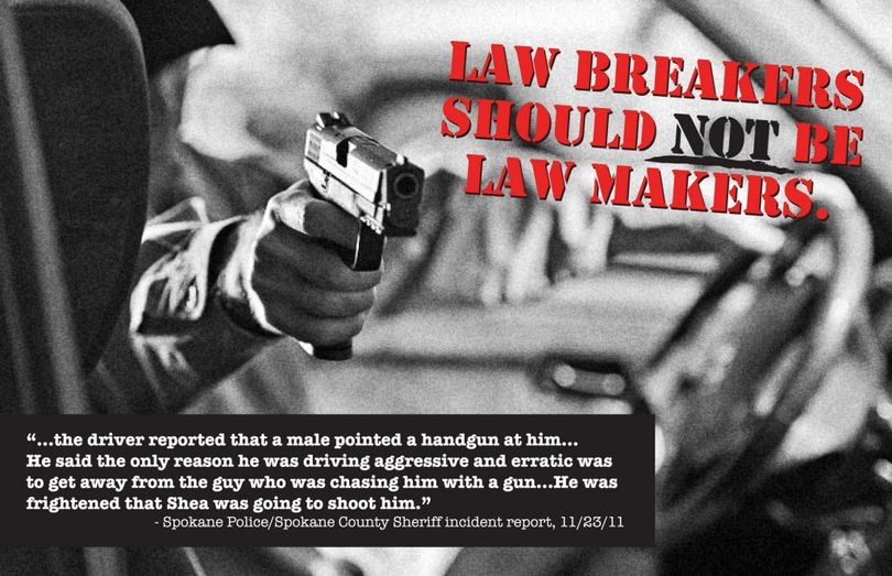 Democrat Amy Biviano's campaign for state representative in Spokane Valley mailed this flier this week. It features a road rage incident involving her opponent, Republican state Rep. Matt Shea. Police reports indicate that although Shea pulled a gun from his glove compartment during the dispute, he did not point the gun at the other motorist, as Biviano strongly suggests in her mailer.