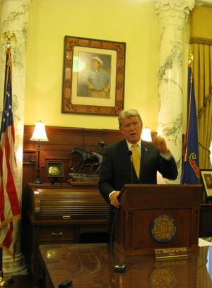 Gov. Butch Otter talks with reporters on Thursday (Betsy Russell)