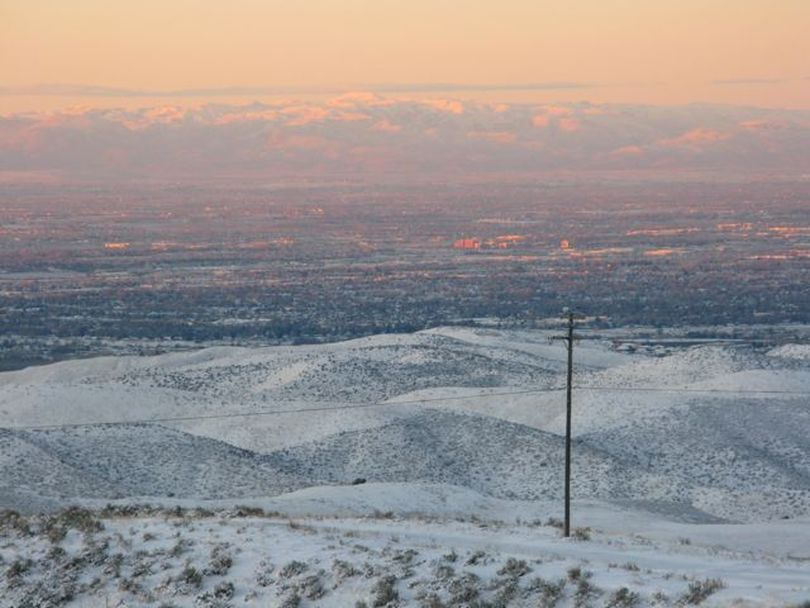 The Treasure Valley, seen from Bogus Basin Road at sunrise (Betsy Russell)