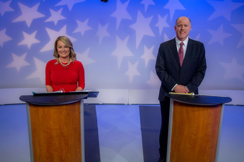 Incumbent Idaho state schools Superintendent Sherri Ybarra, left, and GOP challenger Jeff Dillon, right, faced off in a debate on Friday, April 27, 2018, as part of the