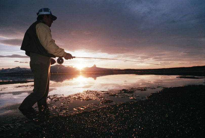 A fly fisherman wades the shoreline at Duck Lake during ice-out on the Blackfeet Reservation in Montana. (Rich Landers)