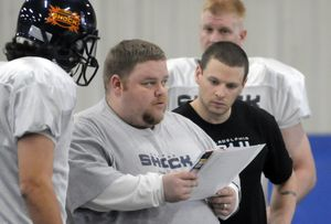The Spokesman-Review Shock head coach Adam Shackleford has assistant Rob Keefe looking on. (Jesse Tinsley / The Spokesman-Review)