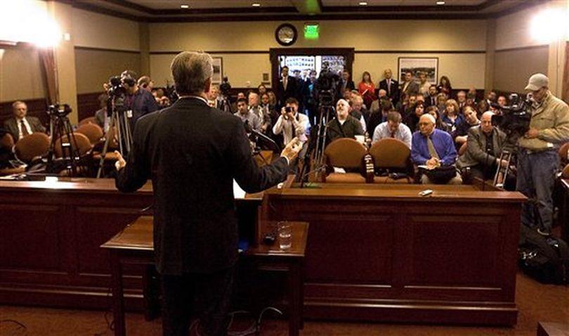 Gov Butch Otter addresses reporters on Friday (AP / Matt Cilley)