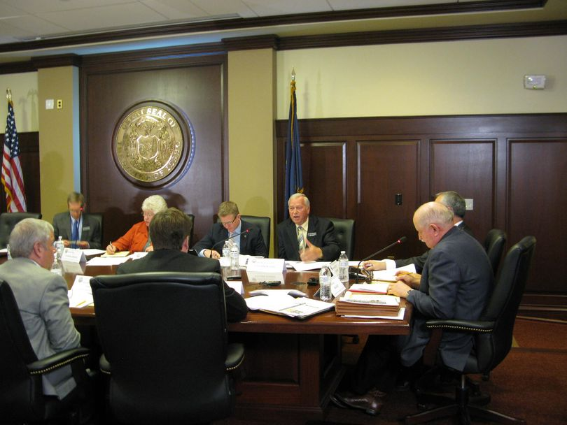 Rep. John Vander Woude talks about gas taxes during a conference committee meeting on Thursday morning (Betsy Russell)