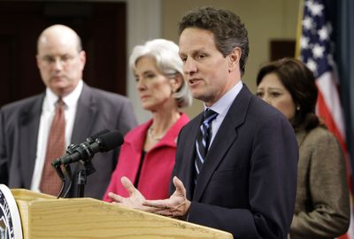 Treasury Secretary Timothy Geithner speaks at a news conference about Social Security and Medicare on Tuesday at the Treasury Department in Washington.  From left are Social Security Administration Commissioner Michael Astrue, Health and Human Services Secretary Kathleen Sebelius, Geithner, and Labor Secretary Hilda Solis.   (Associated Press / The Spokesman-Review)
