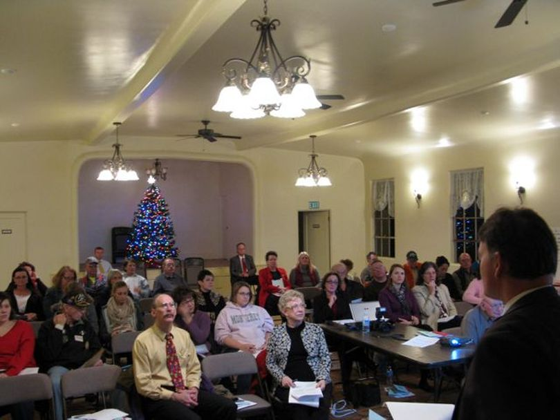 Idaho Deputy Attorney General Brian Kane addresses a full house at the historic Portia Club in Payette on Wednesday night, for a seminar on Idaho's open records and meeting laws. (Betsy Russell)