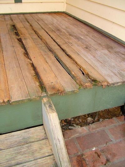 The wood rot on this porch could have been delayed considerably with a safe borate treatment. (Tim Carter)