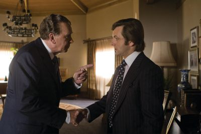 "Frank Langella portrays Richard Nixon, left, and Michael Sheen plays David Frost in the film ""Frost/Nixon."" Universal Pictures (Universal Pictures / The Spokesman-Review)"
