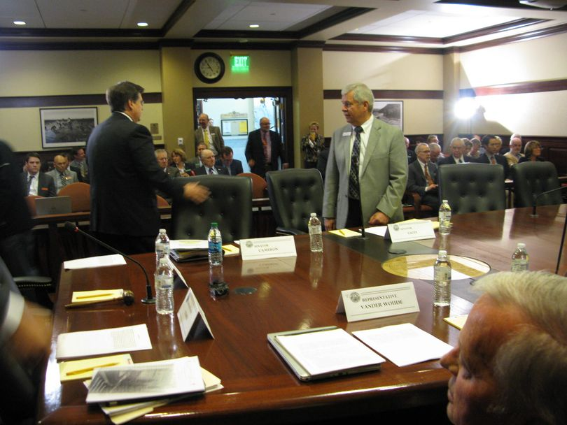 People arrive for conference committee on Thursday morning... (Betsy Russell)