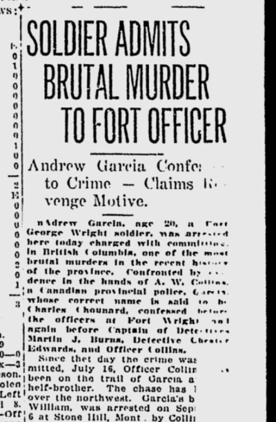 Canadian police arrested Andrew Garcia, aka Charles Chounard, on suspicion he'd brutally killed a Hindu man in British Columbia on Oct. 12, 1920.  (S-R archives)