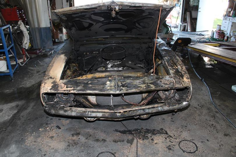 This classic 1969 Camaro was destroyed by fire on Friday, July 26, 2013.  (Photo courtesy the Spokane Valley Fire Department)