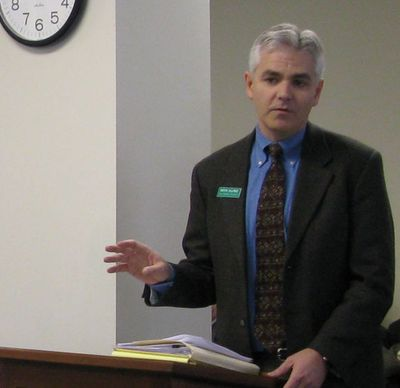 Keith Allred testifies to an Idaho legislative committee earlier this year as a citizen lobbyist for The Common Interest, the good-government group he formed. Allred filed recently to run for governor as a Democrat, challenging GOP Gov. Butch Otter. (Betsy Russell)