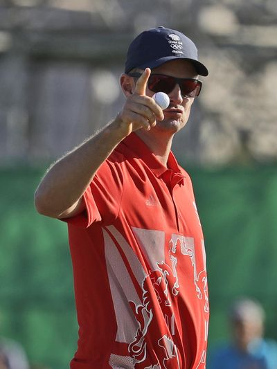 Justin Rose of Great Britain is in line for the gold medal. (Alastair Grant / Associated Press)