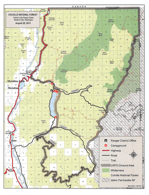 The gray border indicates the area of the Colville National Forest, including the Salmo-Priest Wilderness, that was closed on Aug. 20 until further notice because of fire danger and wildfire fighting activity. (U.S. Forest Service)
