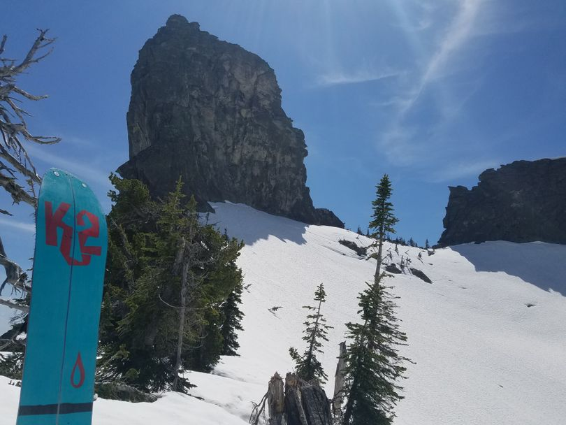 Brett Chambers had a good hump to reach the Selkirk Crest near Chimney Rock on Memorial Day weekend. (Brett Chambers)