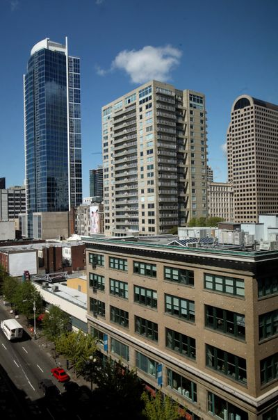 Fifteen Twenty-one Second Avenue high-rise condo tower is shown Thursday, April 23, 2009, in Seattle. (Erika Schultz / Erika Schultz/Seattle Times)