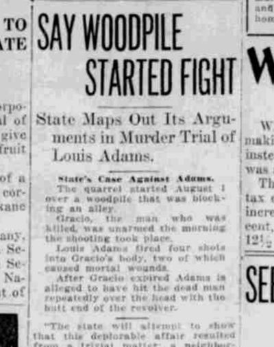 A dispute over a woodpile led to the fatal shooting of Joe Gracio by a neighbor, Louis Adams, prosecutors told a jury 100 years ago today.  (S-R archives)