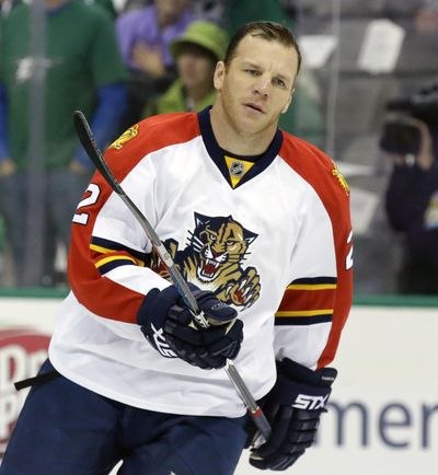 In this Oct. 24, 2015, file photo, Florida Panthers right wing Shawn Thornton skates during warm ups before an NHL hockey game against the Dallas Stars, in Dallas. Shawn Thornton is now a Florida Panthers executive. The recently retired forward was announced Thursday, June 1, 2017, as the Panthers' new vice president of business operations. (LM Otero / Associated Press)