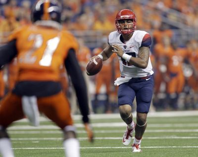 Arizona quarterback Anu Solomon is fourth in the nation in total offense, accounting for 382.7 yards per game. (Associated Press)
